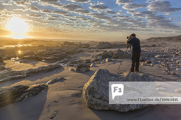 'Man standing taking photos at Marble Beach in Namakwaland National Park; South Africa'