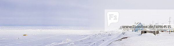 'Panorama of Barrow and the coast on an overcast winter day  North Slope  Arctic Alaska'
