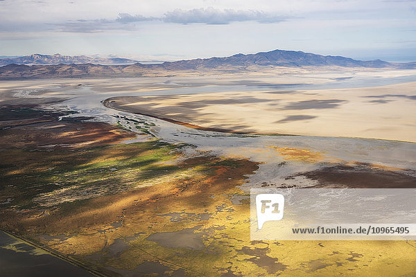 'Great Salt Lake viewed from a commercial flight; Salt Lake City  Utah  United States of America'
