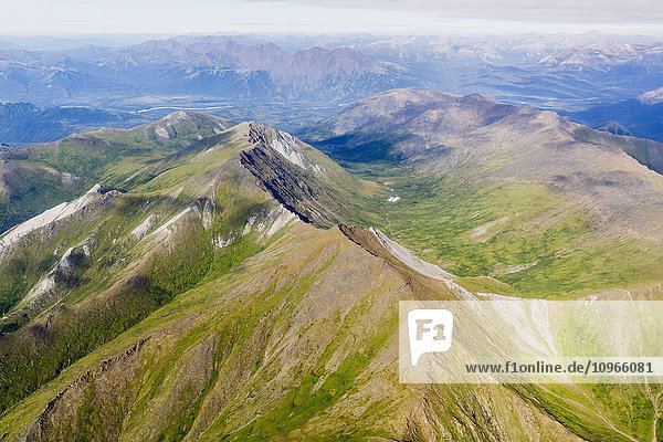 'Aerial view of mountain ridges in the Brooks Range; Alaska  United States of America'