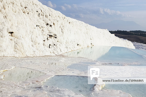 'Hot springs and travertines  terraces of carbonate minerals left by the flowing water; Pamukkale  Turkey'