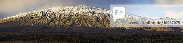 'Panoramic view of the Snaefellsjokull volcano on the western tip of the Snaefellsness Peninsula; Iceland'