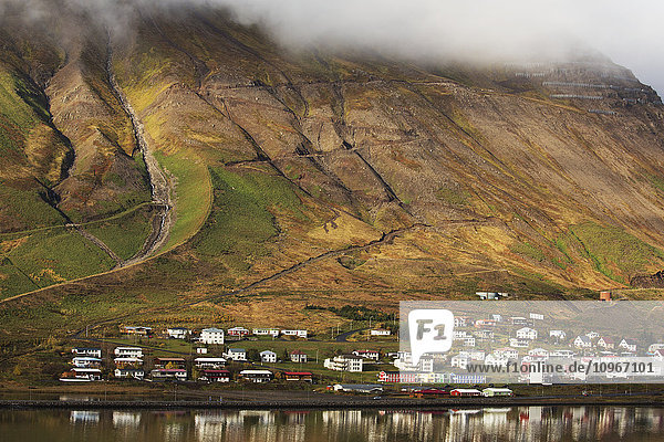 'Colorful houses in a village along the coast; Siglufjordur  Iceland'