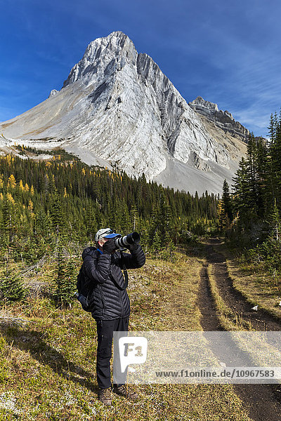 'Male photographer on mountain trail looking through the camera with mountain peak and blue sky in the background  Kananaskis Provincial Park; Alberta  Canada'