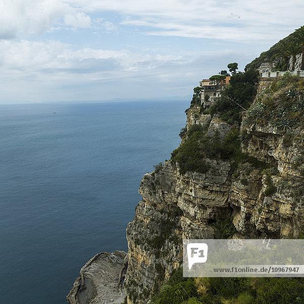 'Rugged rock cliff along the Amalfi coast; Amalfi  Italy'