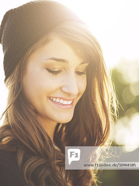 Portrait of Beautiful Happy Young Woman Smiling  Warm soft color tone