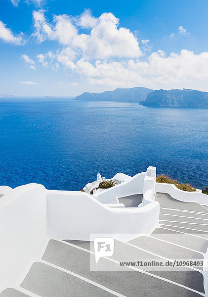 Santorini Island  Greece  Beautiful View of Blue Ocean and Traditional Dome Church Architecture