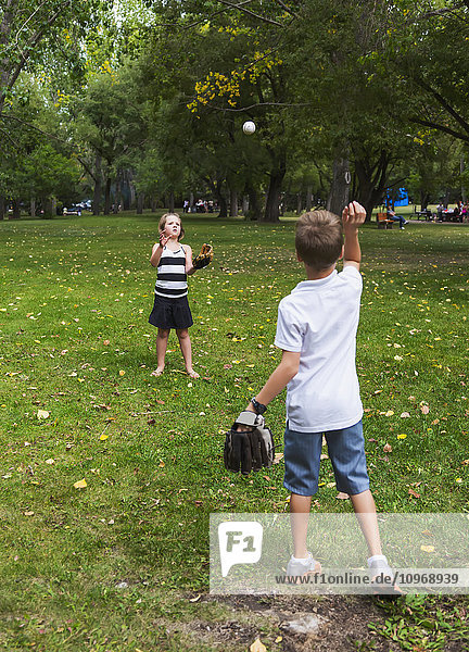 'Brother and sister playing catch in a park during a family outing; Edmonton  Alberta  Canada'