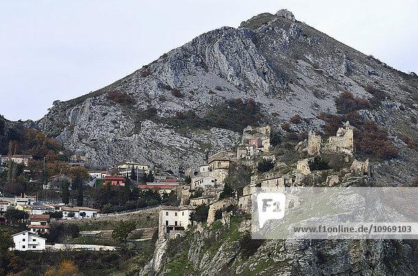 'View of Pescosansonesco and a mountain peak; Pescara province  Abruzzi region  Italy'