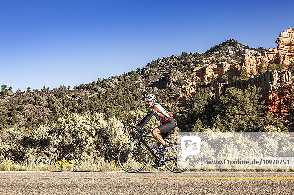 'A senior man cycles in Zion Nation Park; Utah  United States of America'