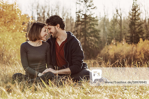 'A young couple looking into each other's eyes while enjoying a romantic time together in a park in autumn; Edmonton  Alberta  Canada'