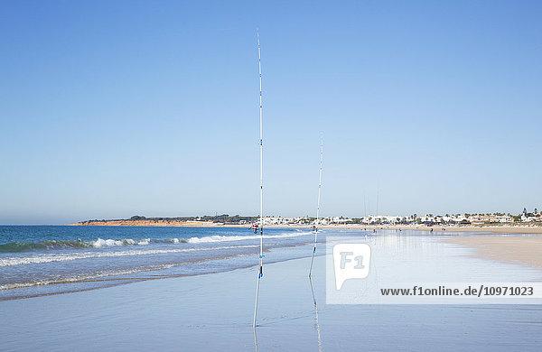 'Fishing poles stuck in the sand on the beach along the coast  near Chiclana de la Frontera; Andalusia  Spain'