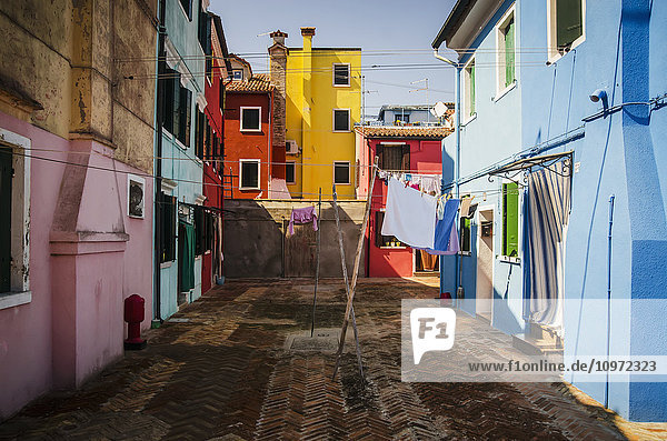 'Row of colourful houses; Burano  Italy'