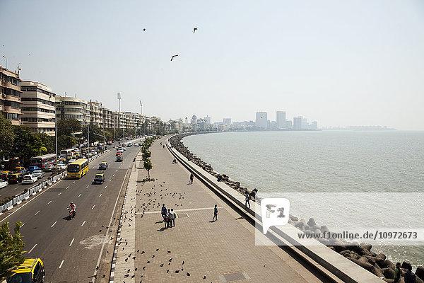 'View of Marine Drive by the beach and boardwalk; Mumbai  India'