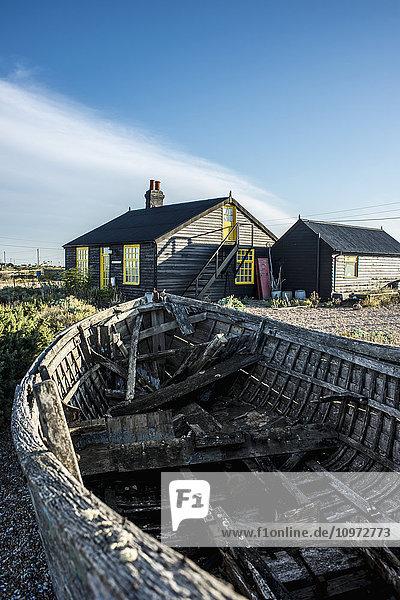 'English film director and gardener Derek Jarman's old cottage; Dungeness  Kent  England'