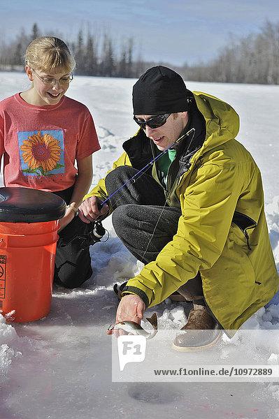 Man shows his catch while ice fishing on Matanuska Lake in the Matanuska Valley north of Anchorage  Southcentral Alaska  winter