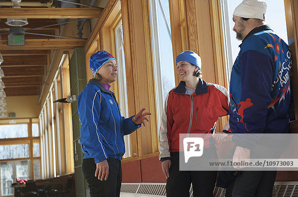 Friends meet at the Birch Hill Nordic Ski Center at Birch Hill Recreation Area in Fairbanks  Alaska