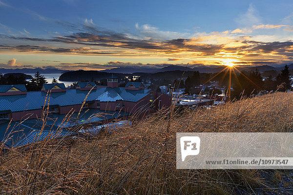 Sunrise over Providence Kodiak Island Medical Center (PKIMC)  Kodiak Island  Southwest Alaska  Autumn