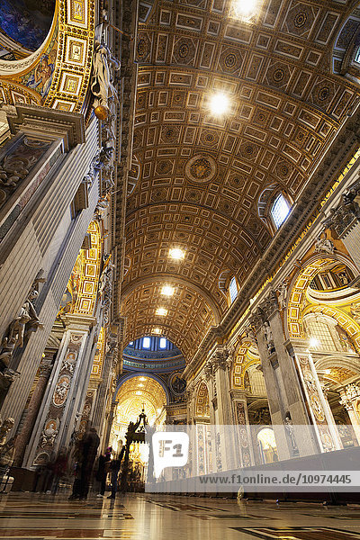 'Ornate ceiling and walls  St. Peter's Basilica; Rome  Italy' 'Ornate ceiling and walls, St. Peter's Basilica; Rome, Italy'