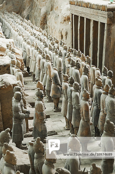 'Xian´s Terracota Warriors  a collection of terracotta sculptures depicting the armies of Qin Shi Huang  the first Emperor of China. It is a form of funerary art buried with the emperor in 210–209 BCE and whose purpose was to protect the emperor in his afterlife; Xian  Shaanxi province  China'