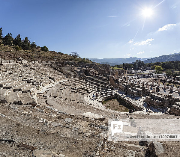 'Ruins of a theatre built in the second century; Ephesus  Izmir  Turkey'