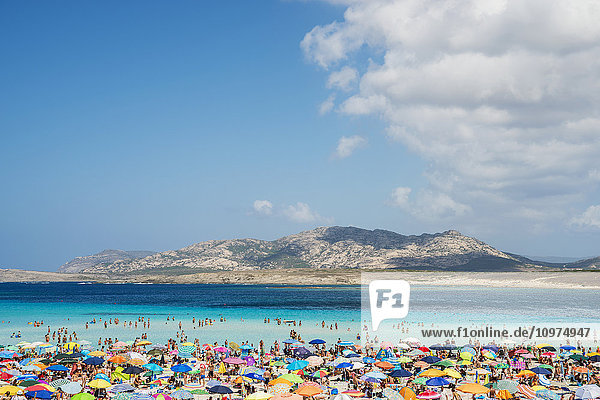 'Tourists enjoying the turquoise waters of famous Pelosa Beach; Stintino  Sardinia  Italy'