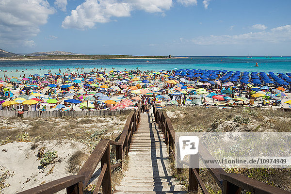 'Tourists enjoying the turquoise waters of famous Pelosa Beach; Stintino  Sardinia  Italy'