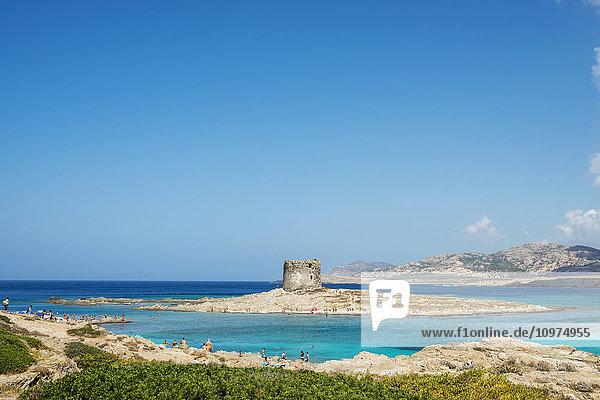 'Tower of La Pelosa in La Pelosa Beach; Stintino  Sardinia  Italy'