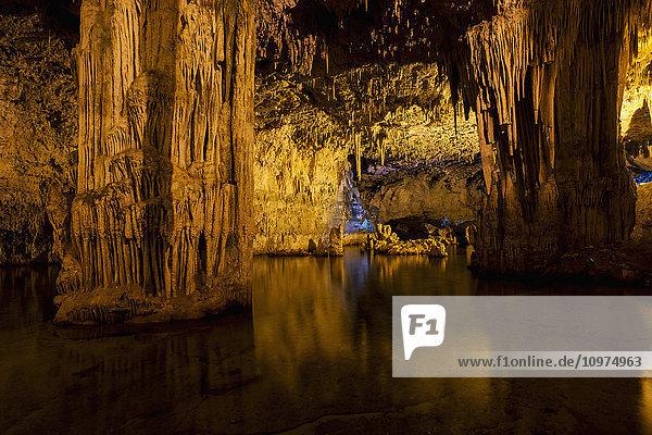 'Inside Neptune's Grotto in Capo Caccia; Alghero  Sardinia  Italy'