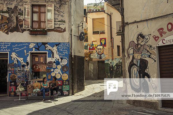 'Political paintings known as murales; Orgosolo  Sardinia  Italy'