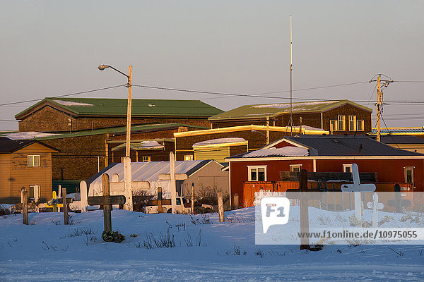 Cemetery in the heart of the Inupiaq village of Kotzebue in the Northwest Arctic of Alaska.