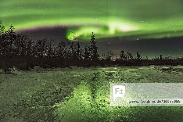 Scenic view of the aurora borealis over the frozen Knik River  Southcentral Alaska