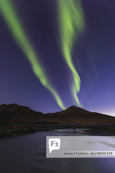 The aurora borealis splits in the sky over the Dietrich River and the Trans Alaska Pipeline north of Wiseman  Alaska.