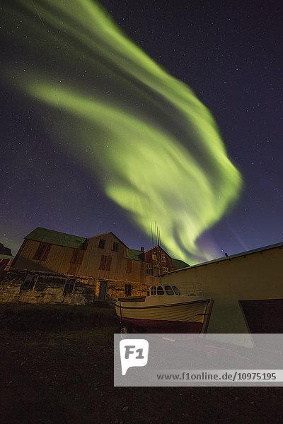 'Northern lights dancing in the skies above Djupavik; West Fjords  Iceland'