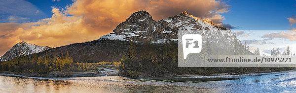 Panoramic scenic of Mt. Sukakpak at sunset along the Middle Fork of the Koyukuk River in the Brooks Range  Arctic Alaska  Autumn