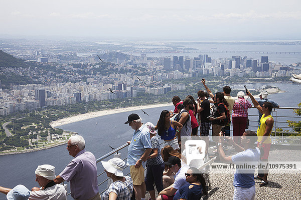 'View from Sugarloaf Mountain looking to Flamengo and city centre; Rio de Janeiro  Brazil'