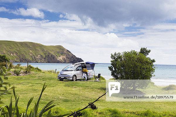 'A beachfront campsite on the northernmost tip of the Coromandel Peninsula; Port Jackson  Waikato  New Zealand'