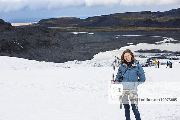 'Hiking through the Solheimajokull glacier; Solheimajokull  Iceland'