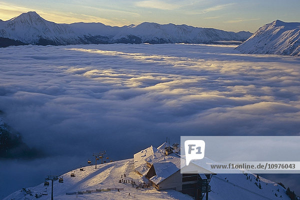 Alyeska Round House & Lodge Overlooking Fog In Turnagain Arm Southcentral Winter Alaska