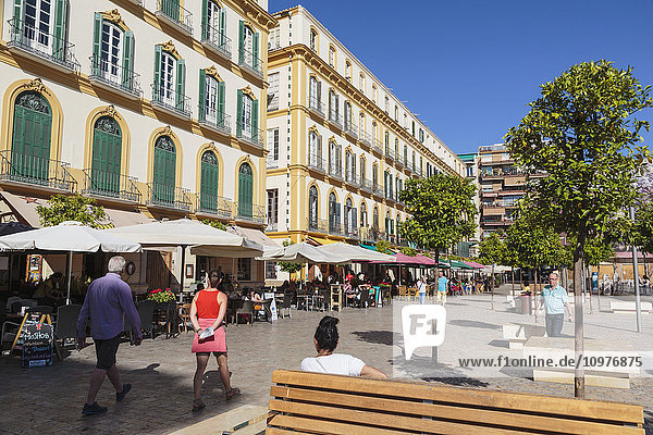 'Cafe life in Plaza de la Merced  Pablo Picasso's birthplace is in this square; Magala Province  Andalusia  Spain'