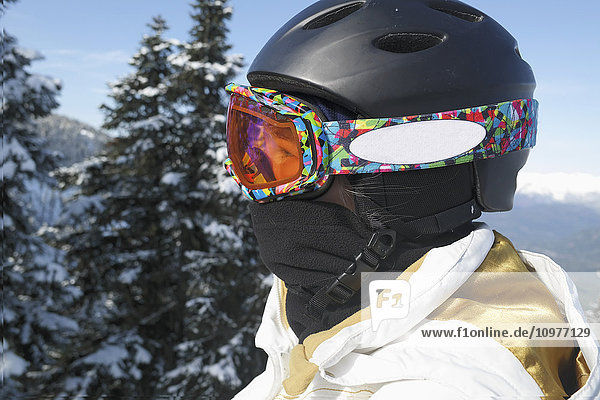 'Close-up of skier in goggles and helmet; Whistler  British Columbia  Canada'