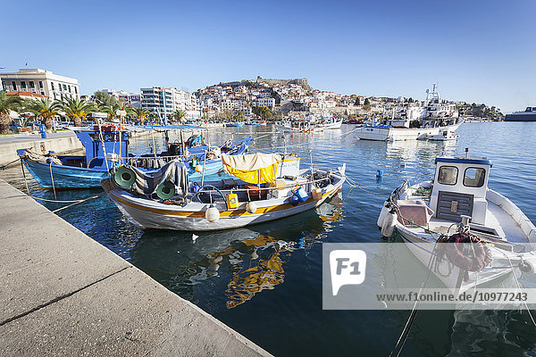 'Boats in the harbour and view of the coastline; Kavala  Greece' 'Boats in the harbour and view of the coastline; Kavala, Greece'