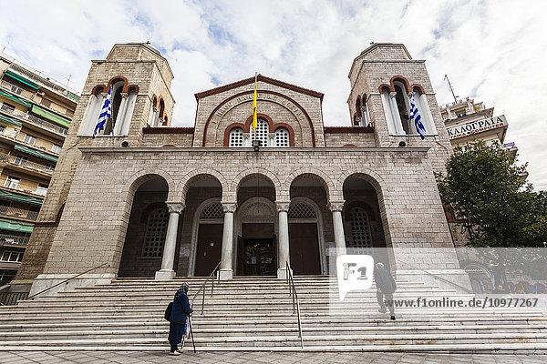 'Walking up the steps of a church building; Thessaloniki  Greece'