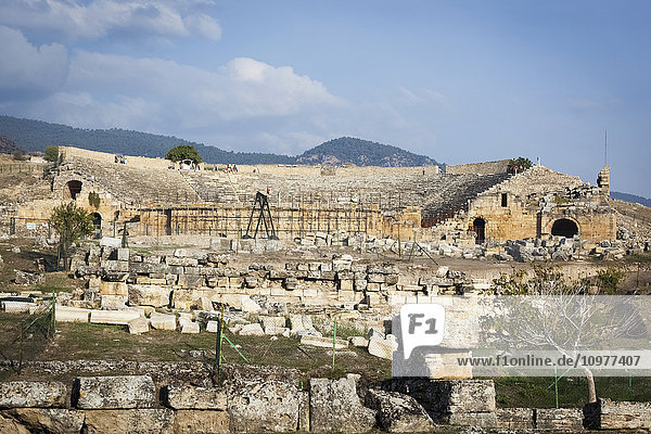 'Excavation of the ruins of an ancient Greco-Roman theatre; Pamukkale  Turkey' 'Excavation of the ruins of an ancient Greco-Roman theatre; Pamukkale, Turkey'