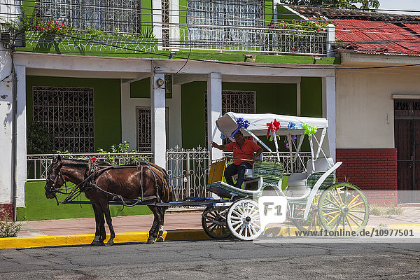 'Driver of a horse-drawn carriage tour smiles and waves for a picture; Granada  Nicaragua'