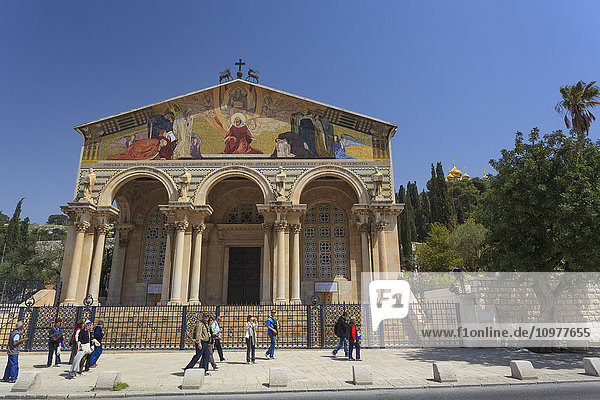 'Church building with colourful artwork on the facade; jerusalem  Israel' 'Church building with colourful artwork on the facade; jerusalem, Israel'