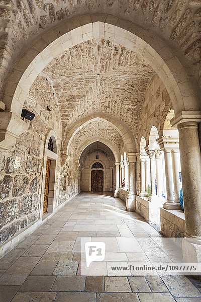 'Covered walkway at the Church of St. Catherine; Bethlehem  Israel' 'Covered walkway at the Church of St. Catherine; Bethlehem, Israel'