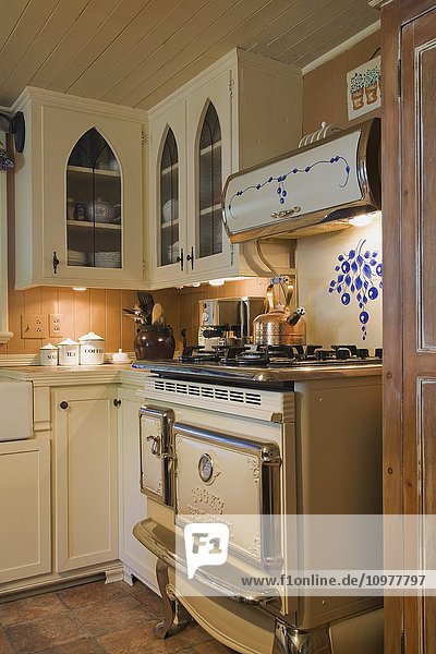 Functional Kitchen With A Replica Of An Antique Gas Top Stove In An Old Cottage Style Residential Home (Circa 1705) Quebec  Canada. This Image Is Property Released. Pr0132