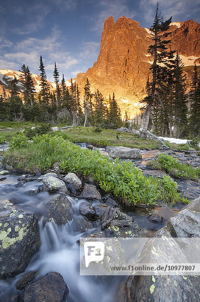 'First light on Long's Peak at Chasm Lake in Rocky Mountain National Park; Colorado  United States of America'