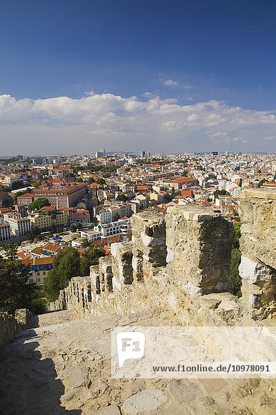 Lisbon City Skyline From Atop A Stairway At St-Jorge Castle  Portugal  Europe